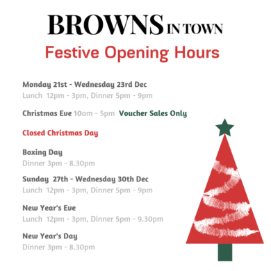 Browns in Town restaurant Derry - Londonderry Festive opening hours 2020