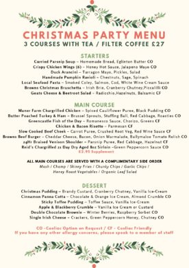Christmas Party Dinner Menu Browns in Town, Derry / Londonderry