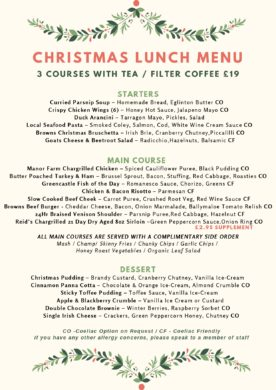 Christmas Party Lunch Menu Browns in Town, Derry / Londonderry