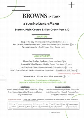 Browns in Town 2 courses for £10 Lunch Menu Derry / Londonderry