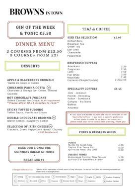 Browns in Town Dinner Menu - Derry / Londonderry