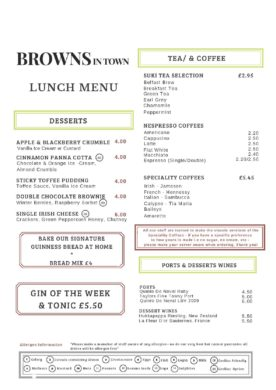 Browns in Town Lunch Menu - Derry / Londonderry
