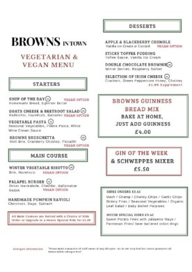 Browns in Town Vegan / Vegetarian Menu - Derry / Londonderry