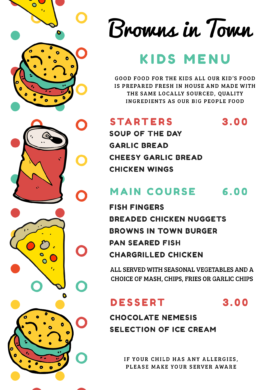 Kids Menu Browns in Town