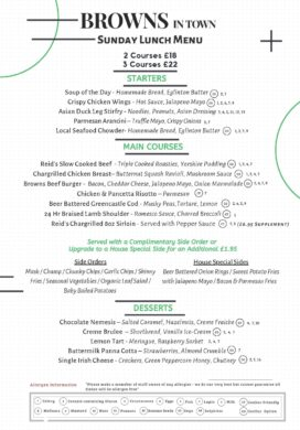 Browns in Town Sunday Lunch Menu 19.7.2020