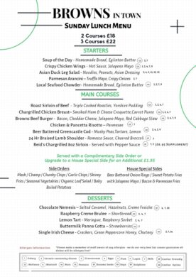 Sunday Lunch Menu Browns in Town